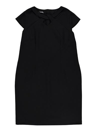 Ekol Ekol 25019429 Diz Boy Kadın Elbise Siyah